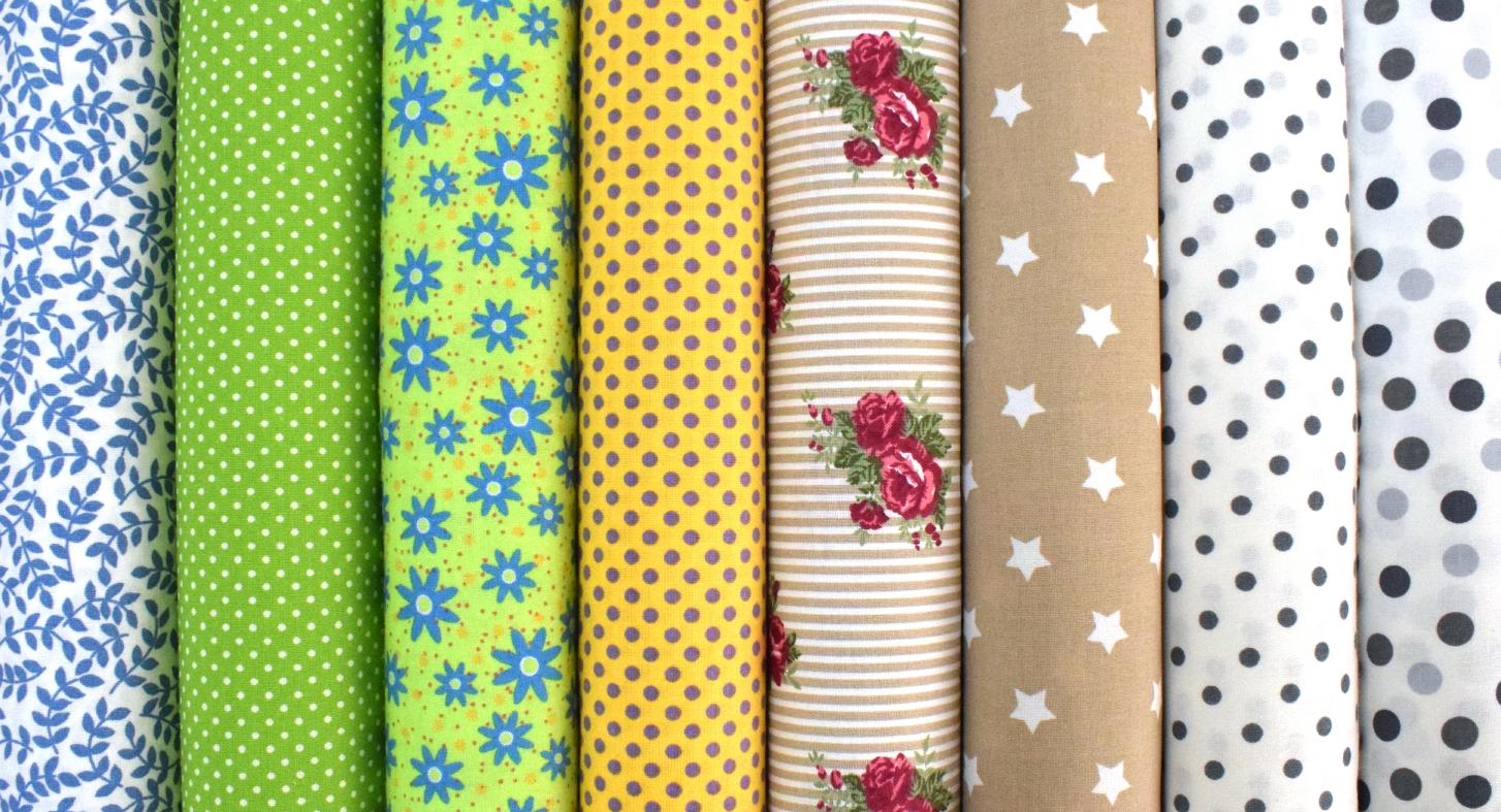 latky,tkanina,bavlna,jarní,látky,puntíky,květiny,růže,hvězdy,kočky